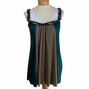 Ion Tank with Braided Straps Green and Taupe L